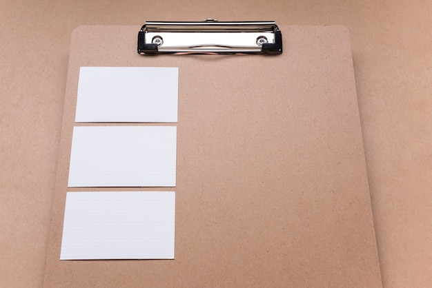 Clipboard copy space and white business cards