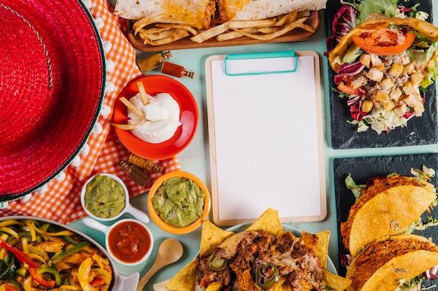 Clipboard near food and sombrero