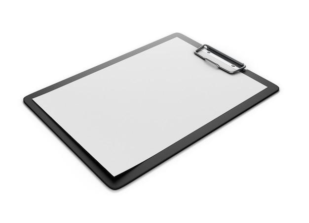 흰색에 고립 된 종이의 빈 시트와 클립 보드. 종이 홀더. 3d 렌더링.