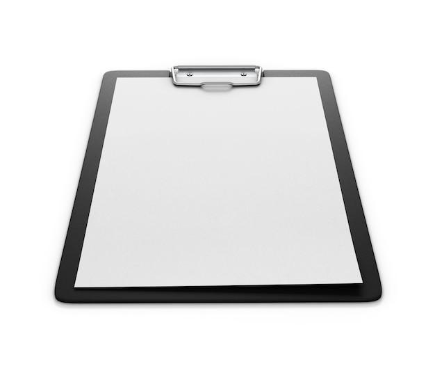 흰색에 고립 된 종이의 빈 시트와 클립 보드. 종이 홀더. 3d.