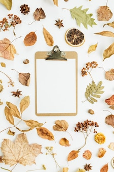 Clipboard with blank paper on dry fall autumn leaves surface