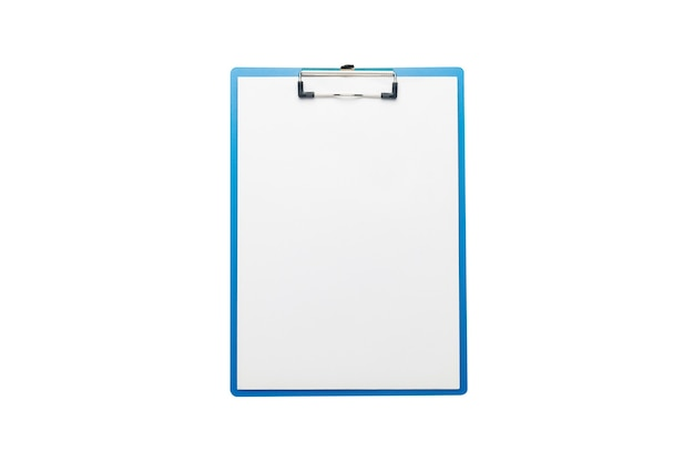 Clipboard with blank sheet on isolated white