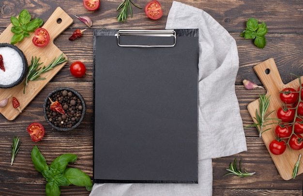 Clipboard with cooking ingredients