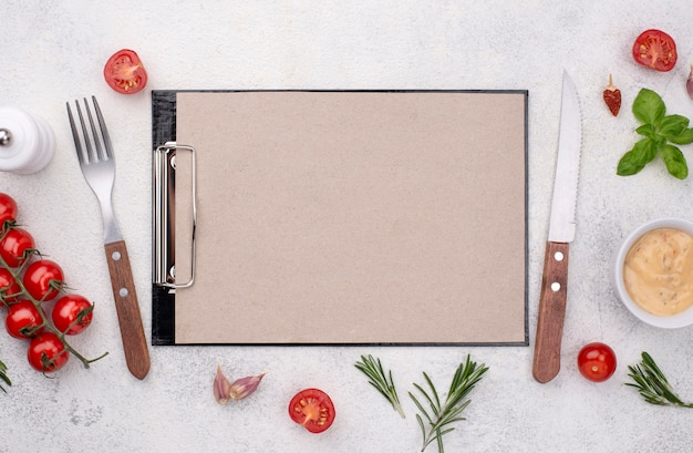Clipboard with cutlery