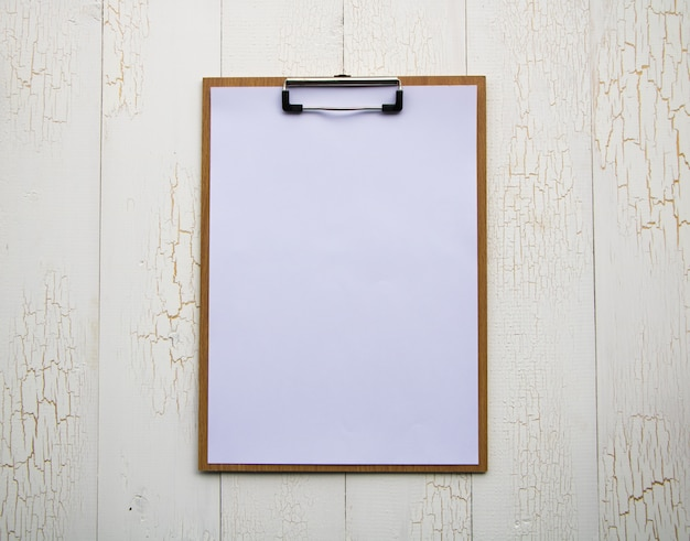 Clipboard with white sheet