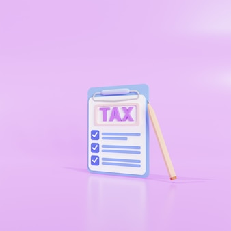 Clipboardicon tax payment and business tax concept, and the tax form. 3d  illustration