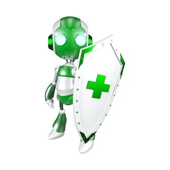 Обтравочный контур зеленый робот, держащий щит, концепция системы цифровых технологий безопасности