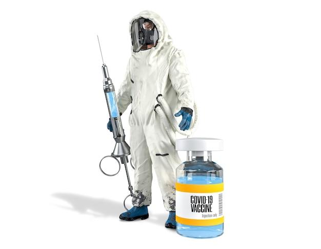 白いシーンで隔離されたヴィンテージ注射器とコロナウイルスまたはcovid19ワクチンボトルを保持している白い危険物スーツまたは危険物スーツのクリッピングパスウイルス学者