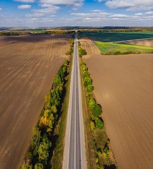 Осень широкое воздушное поле сельской местности украинский пейзаж с clo