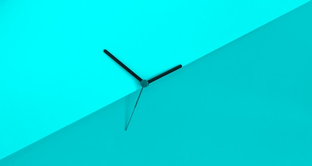 Clock hands on the monochrome blue coloure block background. daylight saving time concept. seasonal time change. summer time concept. copy space.