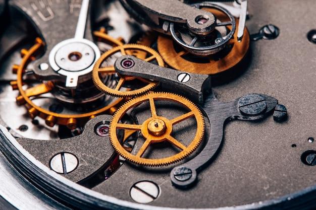 Clock mechanism close up old soviet stopwatch