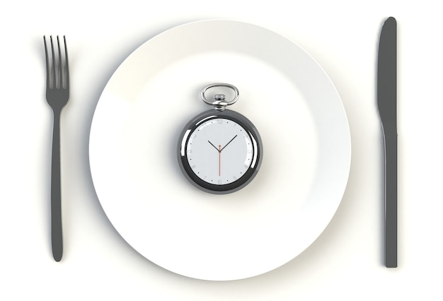 Clock on plate, knife and fork on white table, 3d rendering