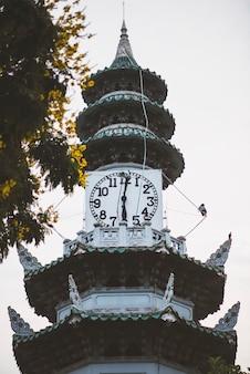 The clock tower at lumphini park in bangkok