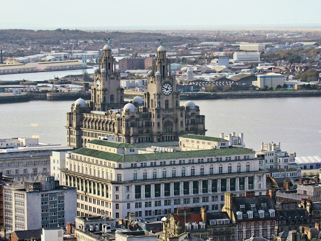 Clock tower and old architecture in liverpool city