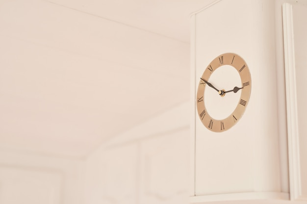Clock on white wall in motor home
