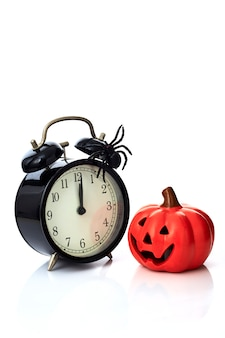 Clock with spider for halloween celebration
