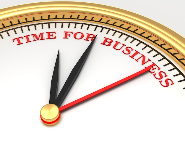 Clock with words time for business on face