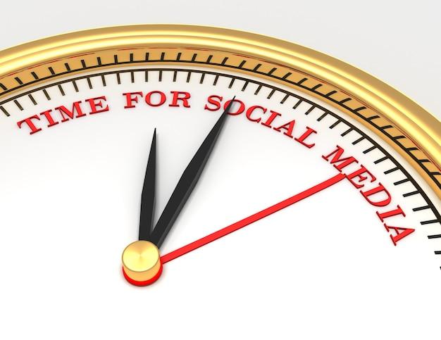 얼굴에 소셜 미디어를 위한 단어 시간이 있는 시계