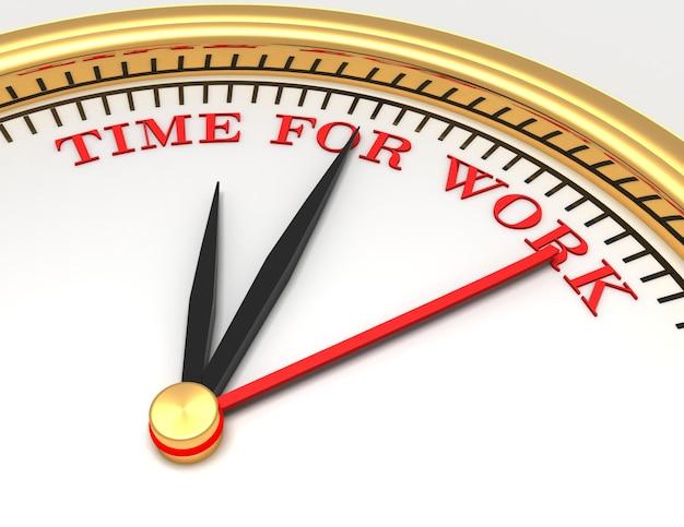 얼굴에 작업을 위한 단어 시간이 있는 시계