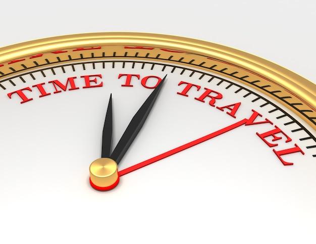 얼굴에 여행하는 단어 시간이 있는 시계