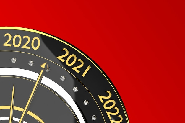 Clock with years isolated on red