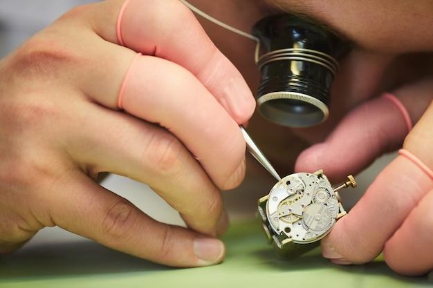 Clockmaker closeup