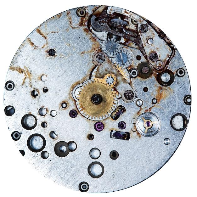 시계 장치 오래 된 기계식 시계 고해상도 및 세부 사항 프리미엄 사진
