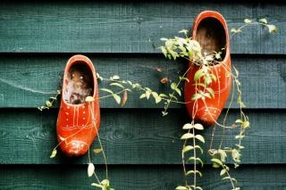 Clogs hanging on fence