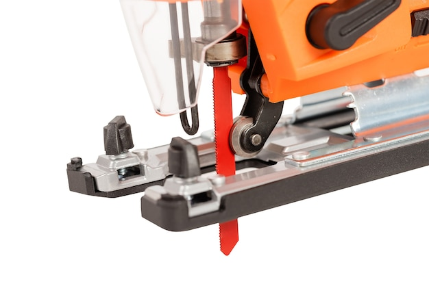 Clos eup of electric jigsaw for wood sawing