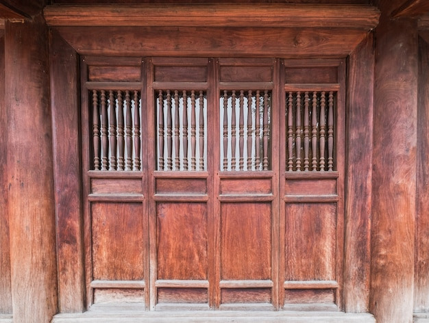 Close ancient wooden door traditional