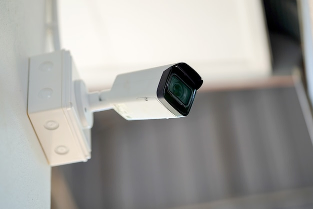 Close circuit television (cctv) in the building concept theft protection.