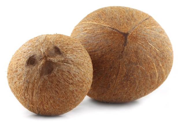 Close of fresh coconut over white background