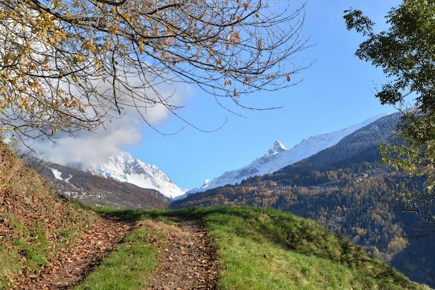푸른 하늘 아래 눈 덮인 피크 산으로 고산 계곡을 건너는 보도에 닫기