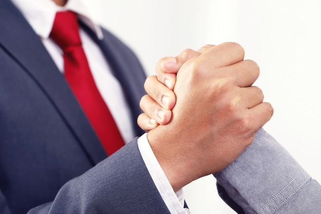 Close people shake hands for a successful business partnership.