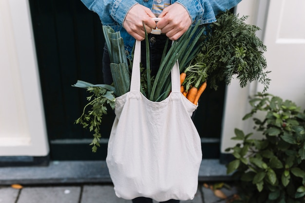 Close of a person holding white shopping grocery bag filled with vegetables