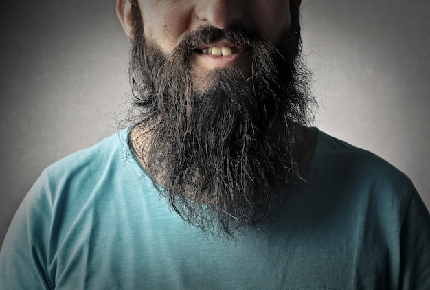 Close picture of a man's beard