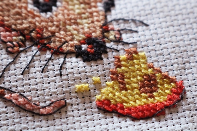 Close snapshot of stitching on white fabric