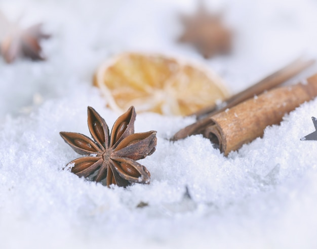 Close on star anise and cinnamon on snow