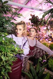自然に近い。写真を撮りながら植物の後ろに立っている素敵な魅力的な女性