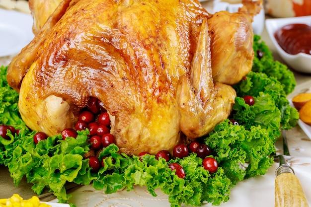 Close uo of turkey, decorated with kale and cranberry for christmas dinner. holiday new year concept.