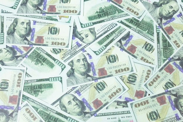 Close up 100 dollar banknote  business content.