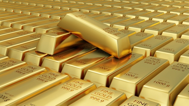 Close-up 3d animation view of fine gold bars.