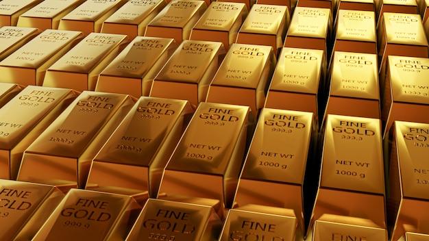 Крупным планом 3d-анимации вид тонких золотых слитков.