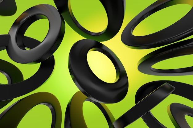 クローズアップ3dモノクロイラスト。異なる幾何学的な円が同じ距離に配置されます。