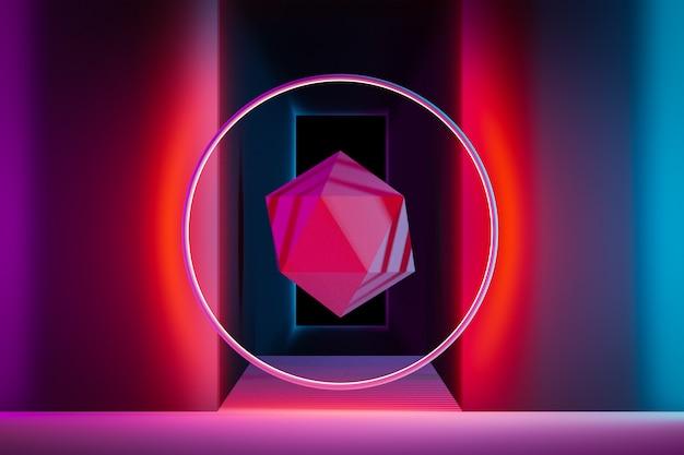 クローズアップ3 dモノクロネオンイラスト。さまざまな幾何学的形状。廊下のネオンフープの赤いポリゴン。行の単純な幾何学的図形。クリスタルのコンセプト