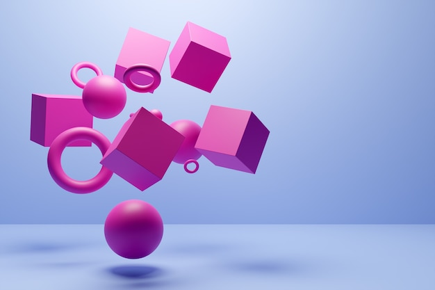 Close-up 3d pink and blue  illustration. different geometric shapes: cube, cylinder, sphere are placed at the same distance. simple geometric shapes flying