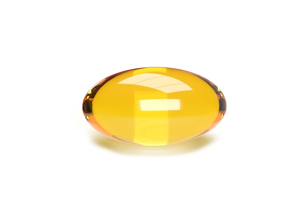 Close-up 3d render of fish oil