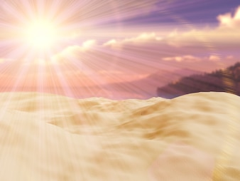 Close up 3d render of a sand and a tropical landscape