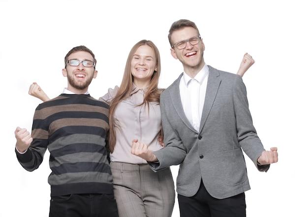 Закройте вверх. группа счастливых молодых людей