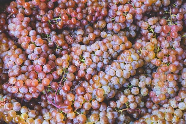 たくさんの美しい甘い色とりどりのブドウの果実、自然有機食品の背景を閉じます